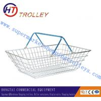 China 22L Chrome Plated Double Handle Folding Shopping Basket , Metal Wire Storage Baskets on sale