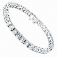 Big Clear Cubic Zircon Diamond Jewelry Costume Silver Bracelet, Different Styles/Colors are Availabl Manufactures