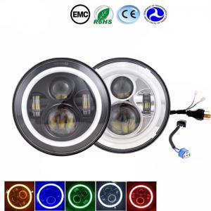 Amber / Blue / Halo Led Headlights , 70W Jeep Wrangler Angel Eyes Headlights Manufactures