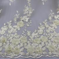 3D Floral Lace Fabric With Beaded Embroidered Polyester Fiber For Party Gowns Manufactures