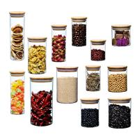China Bamboo Lid Glass Storage Bottle , Kitchen Storage Containers Glass Material on sale