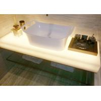 Glossy Milky White Jade Stone Countertops / Eco Recycled Glass Countertops Manufactures