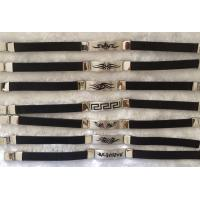 China Greek Alphabetic Tag Stainless Steel Bracelets With Black Rubber on sale