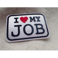 Elegant Custom Clothing Patches  Slogan Logo I LOVE MY JOB Plush Chromatically Flocking Manufactures