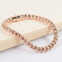 Custom Luxury 18K Gold and Rose Gold Jewelry Gold Engraved Stainless Steel Bracelet Men Manufactures