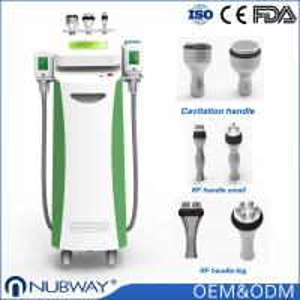 FDA CE Nubway 80%  salon clinic used 5 handles cryolipolysis fat freeze slimming machine with cavitation Rf  handles Manufactures
