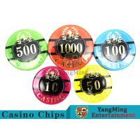 Round RFID Acrylic Poker Chips Set With 760pcs Premium Bronzing Manufactures