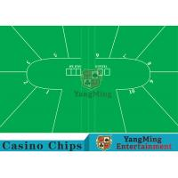 Texas Holdem Standard Casino Table Layout Green With 100% Polyester Fabric Manufactures