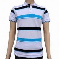 China Men's Polo Shirt with Short Sleeve, Made of 100% Cotton Pique, Printing and Embroidery are Available on sale