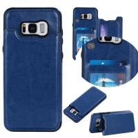 Dark - Blue Galaxy S8 Plus Wallet Case Crazy Horse Business Use With Holder Function Manufactures