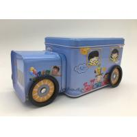 Candy Storage 2 Tin Branded Gift Boxes Blue Car Shape With Four Wheels For Kids Manufactures