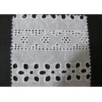 Water Soluble White Eyelet Cotton Lace Trim / Cotton Antique Lace Trimmings CY-CX0182 Manufactures