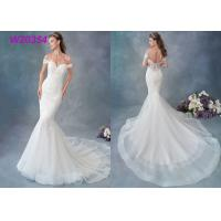 Embroidered Lace / Tulle / English Net Mermaid Style Wedding Dress Detachable Cap Sleeve Manufactures