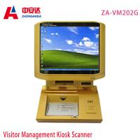 ZA-VM202G Gold Desktop Visitor Management Checking Kiosk Touch Screen Scanner Payment Kiosks Manufactures