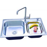 China 304 Stainless Steel Double Bowl Undermount Sink With Flexible Faucet on sale