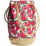 bucket watermelon canvas straw bag 80291 Manufactures