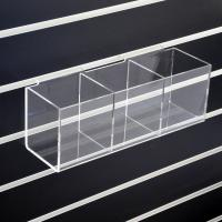 China Wall Mounted Clear Slatwall Acrylic Display W/ 3 Boxes Perspex Bins on sale