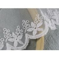 Scalloped Embroidered Nylon Mesh Lace Trims Cotton Tulle Floral Lace Trim Custom Manufactures