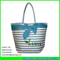 LUDA striped women paper straw tote bag bowknot promotion straw bag Manufactures
