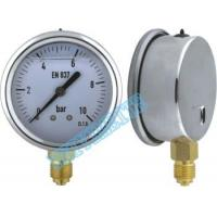 63mm Crimp type hydraulic pressure gauge instrument with oil , isolate Manufactures