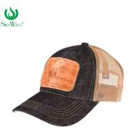 Multi - Panel Sport Custom Printed Baseball Hats With Leather Patch Manufactures