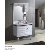 Contemporary PVC Bathroom Vanity Units Two Embossed Board Doors Feet Standing Manufactures
