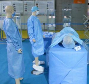 Quality SMS Non woen fabric/100% Polypropylene SMS non woven fabric for hosital/non for sale