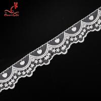 Quality Cotton White Embroidered Lace Trim 5.6cm Width Static - Cling Resistant for sale