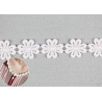DTM Color Cotton Lace Edging Dyeing With Smooth Pattern / Embroidered Flower Appliques Manufactures