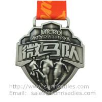 Embossed 3D event medal with ribbon, designer 3D metal medal with embossed figure Manufactures