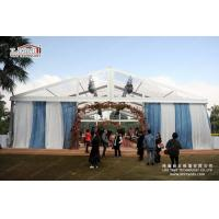 China 300 People transparent Special Event Tent With Blue Curtain Decoration For Wedding Party on sale