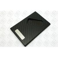Matte Carbon Fiber Jewelry Business Credit Card Holder With Engraveable Steel Accent Manufactures
