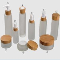 Frosted Glass Empty Cosmetic Containers ,100ml Bamboo Cap Face Cream Jars Manufactures