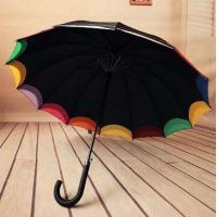 Double Canopy Bright Multi Colored Umbrella Hook Plastic Handle Black Metal Frame Manufactures