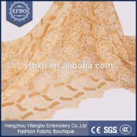 China Double colored hot sale wholesale embroidery thick gold lace fabric with metallic flowers on sale