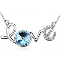 Rhodium Plated Sterling Silver Love Letter Pendant Necklace For Lady Wedding Manufactures