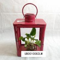 China Decorative Wall Hanging Antique Candle Lantern Rustic Iron Finish Red Color on sale