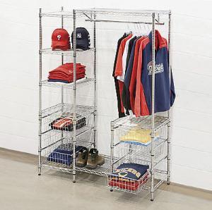 Mall Clothing Display Racks /Metal Garment Storage Shelves Manufactures