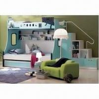Quality Bunk Bed with Matte Painting Finish, Includes Stair Cabinet, Made of MDF, Available in Blue for sale