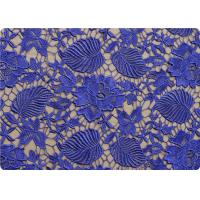 Flower 100% Polyester Lace Overlay Fabric Material Purple / Black Lace Cloth Manufactures