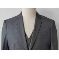Stripe Mens Light Gray 3 Piece Suit Worsted Wool Flat Pocket Japanese Style Manufactures