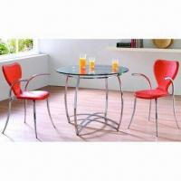 Tempered Glass Top/Rectangle Steel Tube Round Dining Tables Manufactures