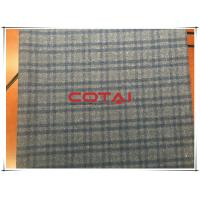 Small 3.5cm Tartan Double Faced Wool Coating Fabric With Navy Line Nap Down Manufactures