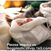 Bulk Cheap Shopping Mesh Cotton Bag for Fruits Vegetable Grocery Shopping Mesh Net Braided Bags Pure Organic Cotton Eco Manufactures