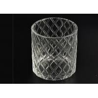 Wax Cylinder Frosted Glass Candle Holders For Wedding , Glass Candle Cups Manufactures