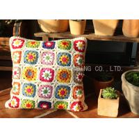 Floral Pattern Square Car Seat Cushion Covers Crochet Multicolor Crochet Circle Cushion Manufactures