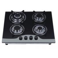 China Durable Four Burner Gas Cooker Hob Built In Installation Black Tempered Glass Material on sale