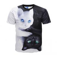 Casual 3d Animal Print T Shirts / Dye Sublimation T Shirts Round Neck Manufactures