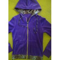 Purple Velour Color Block Womens Zip Up Hoodies With Kangaroo Pocket High End Manufactures