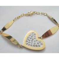 Promotional Gold Plated Jewelry Stainless Steel Crystal Bracelets with Heart Shape Manufactures